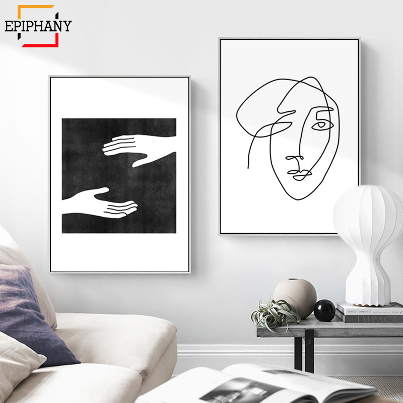 Modern Wall Decor One Line Art Face Sketch Canvas Painting Black And White Prints Abstract Artwork Posters For Living Room