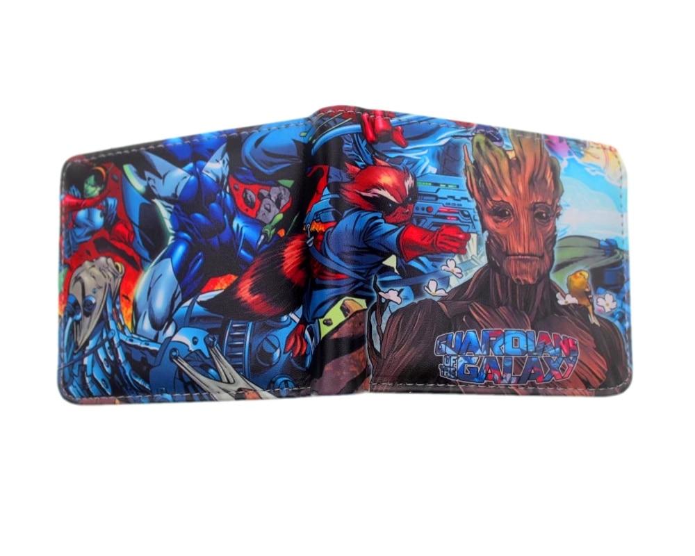 Marvel Super Hero Groot Guardians of the Galaxy wallet Card Holder Men women Purse Cartoon short PU purse