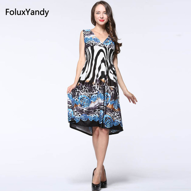 US $19.78 10% OFF|Leopard Dress Women Plus Size 3 4 5 6 7 XL Sleeveless  Casual Print V neck Summer Midi Dress Vestidos CMC23-in Dresses from  Women\'s ...