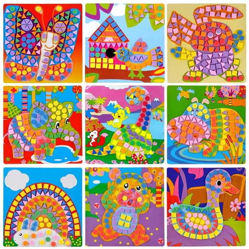 Niños eva mosaico pegatinas 3d arte artesanía rompecabezas del transporte de ani