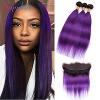 Sapphire Hair 13x4 Ear to Ear Lace Frontal with Bundle 1B/Purple Ombre Malaysian Straight Remy Human Hair 3 Bundles