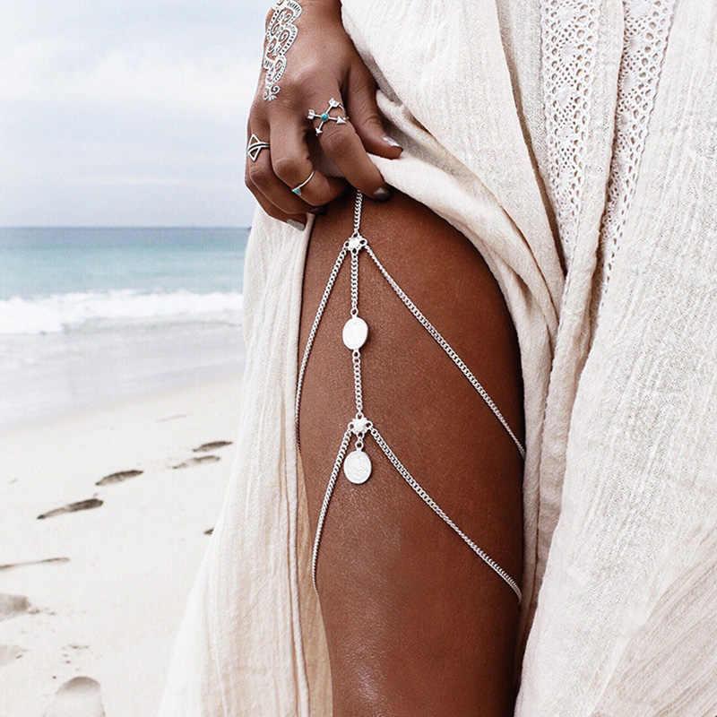 الذهب الفضة اللون الساق سلاسل الخلخال النساء الشاطئ الكاحل أساور متعدد الطبقات شرابة الفخذ سلسلة زهرة عملة حلية مجوهرات للجسم