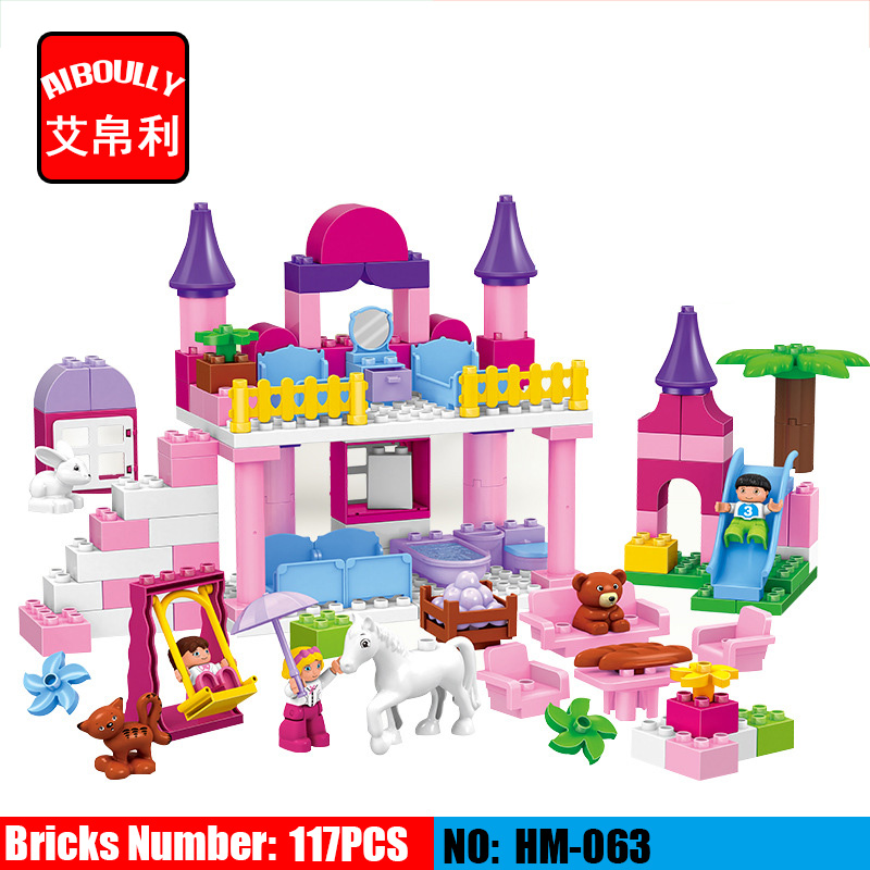117pcs Girls Princess Castle size bricks Large particles Educational Baby Toys DIY birthday Christmas gifts Compatible Duploe diy 117pcs princess dream castle park larger particles building blocks toy kids girl best gift compatible with legoed duploe