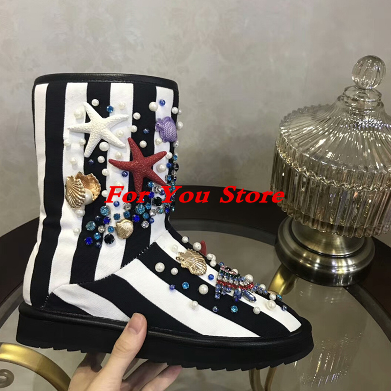 Colorful Crystal Embellished Women Snow Boots Warm Winter Shoes Round Toe Fish Flower Animal Decor Flats Metal Decor Brand Shoe 2017 embellished sweety girl love pink peach women martin boots short shoe ankle lace up crystal sequins flat round toe shoe