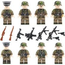 WW2 Military German Army camouflage Soldier Figures Building Blocks German Army Weapon camouflage Helmet Bricks Toy for Children