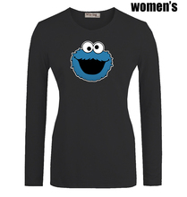 Funny Blue Cookie Monster Monsta Printed T Shirt Newest Casual Long Sleeve High quality Women s