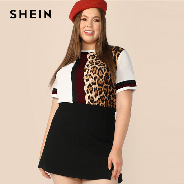 SHEIN Plus Size Cut And Sew Striped Leopard Top Women 2019 Summer Colorblock Casual Round Neck Tee Highstreet Weekend T-shirt 2