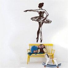 Elegant Ballerina Wall Stickers For Kids Room Girls Home Decor Ballet Dancer Removable Nursery Art Mural Gymnastic Decal