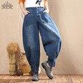 ¡ Caliente! Pantalones Vaqueros de Talla grande de Las Mujeres de Moda Bolsillo Grande de Mezclilla Pantalones Flojos Ocasionales 2017 Nueva 3 Estilos de Ropa de Mujer