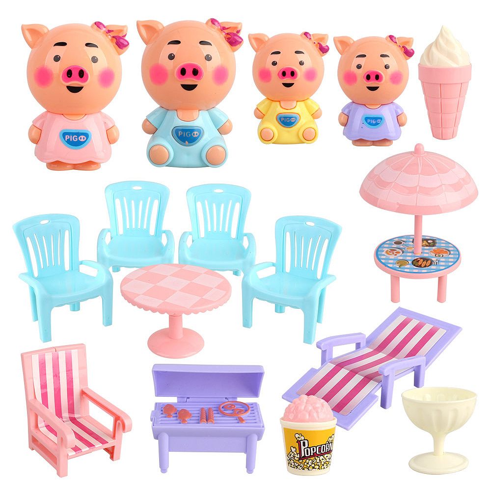 Kids Kitchen Toys Pretend Play Toy Set DIY Cartoon Pig Table Stool Snack Stall Simulation Food Toys