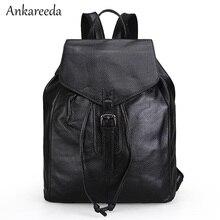 Для женщин сумка черная модная Натуральная кожа сумки на плечо для девочек-подростков Drawstring школьников сумки ретро путешествия Bagpacks