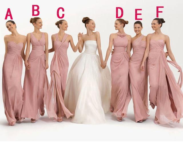 Bridesmaid Dress Party demoiselle d honneur Robe 6 Styles Chiffon Blush  Pink Long Prom Wedding 9902afc7adaa