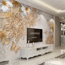 White daisy flowers butterfly gold papel de parede 3d Plum wall paper bedroom living room TV backdrop mural wallpaper for walls beibehang papel de parede 3d gold foil wallpaper for walls 3d ktv restaurant classical chinese decoration wall paper papel mural
