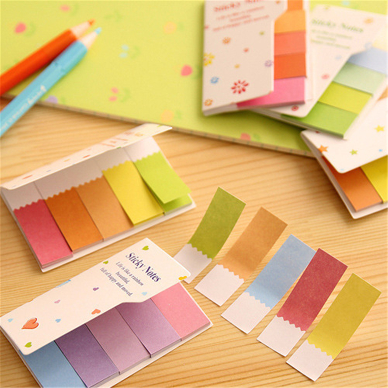 DL Korean creative fresh and lovely convenience sticker rainbow double side note double color N Post Wholesale learning sticker