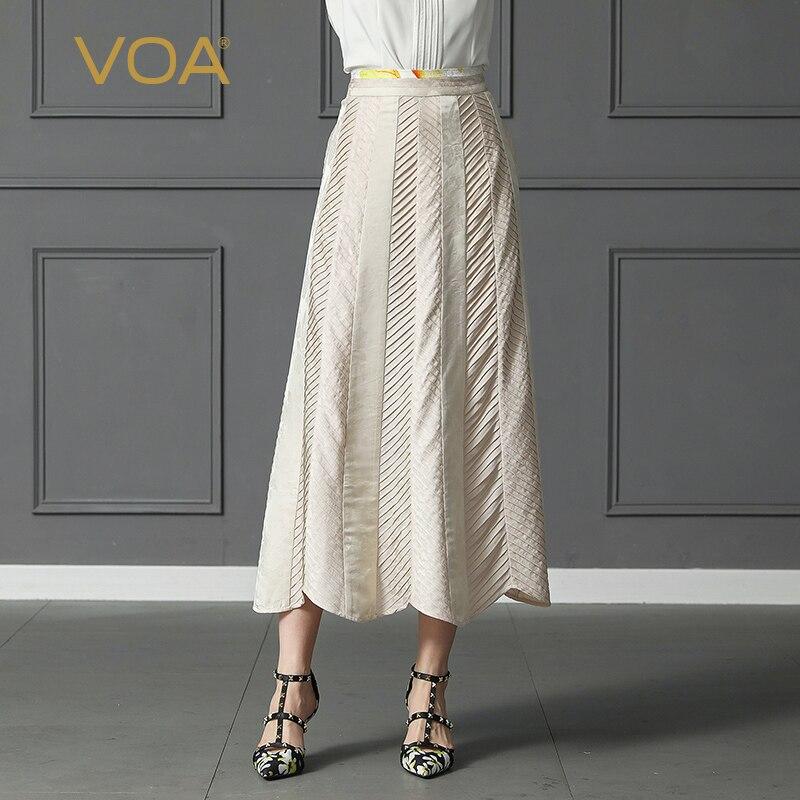 VOA Silk Long Skirts Women Plus Size A Line Skirt Summer Casual Beige Champagne Harajuku Kimono Mid Waist Slant Pockets C301