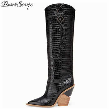 Sexy Embossed Runway T Show Knee High Boots Pointed Toe Women Wedges Strange High Heel Knight Boots Western Cowboy Long Boots - Category 🛒 Shoes
