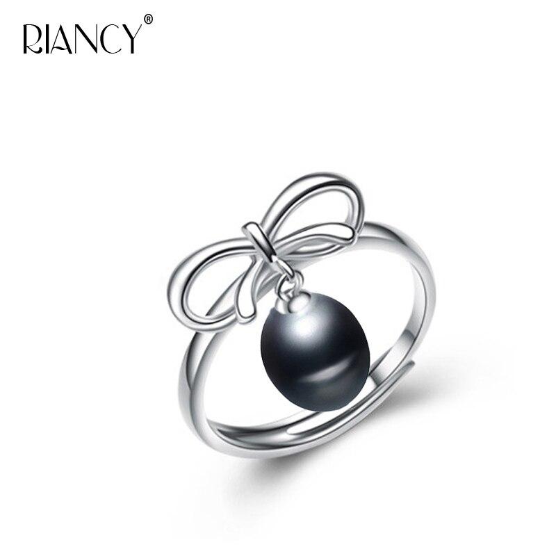 78cc06ebf142 De agua dulce Perla Negra anillo para mujer perla natural con Plata de Ley  925 anillo de compromiso joyería de mejor regalo de boda