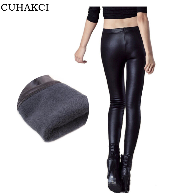 New 2016 thickening black leather boots leggings skinny pants winter warm women's trousers winter pants for women high quality