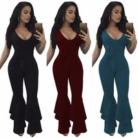 2018 Autumn Women Skinny Jumpsuits Solid Color Bow Plus Size Sleeveless Rompers S M L XL