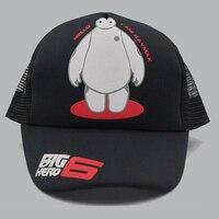 Big Hero 6 Baymax Snapback Hats Cosplay Adjustable Mesh Sports Summer Sun Baseball Caps Black Color
