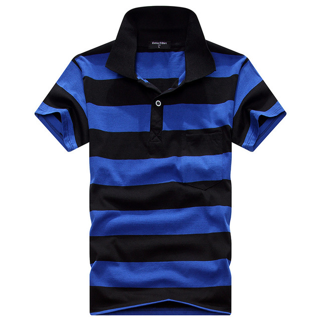 Summer polo shirt men Striped short sleeve turndown collar