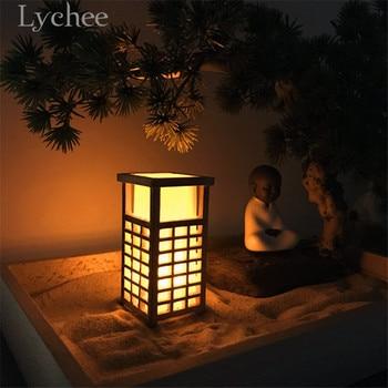 Lychee Japanese Style Wooden Lantern Model Mini Dollhouse Decorations Zen Garden Sand Tray Ornaments 5