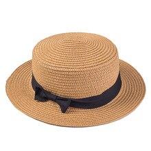 Señora Boater sun caps cinta ronda plana paja sombrero Panamá sombreros del  verano para el sombrero de paja de las mujeres gorra. 46c25f0b96c