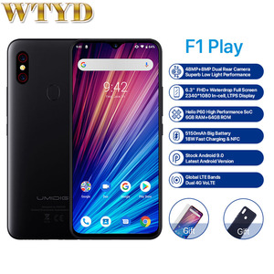"""Image 1 - Umidigi f1 play, helio 6gb 64gb android 9.0 moblile câmera 48mp 5150mah 6.3 """"p60 smartphone versão global dupla 4g"""