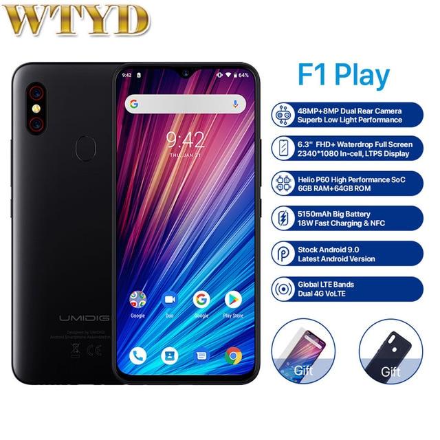 """Umidigi f1 play, helio 6gb 64gb android 9.0 moblile câmera 48mp 5150mah 6.3 """"p60 smartphone versão global dupla 4g"""