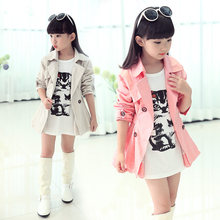 Trendy Girl Autumn Turn Down Collar Double Breasted Jacket Coat Teens Girls Outerwear Clothing Kids Spring Fall &