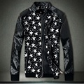 New 2016 fashion star embossed leather patchwork jacket men slim fit rivet desgin jacket men's clothing jaqueta masculina/JK44