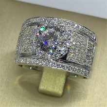 Luxury Male Female Big Engagement Ring Fashion 925 Silver Crystal Zircon Stone Ring Men Women's Vintage Wedding Rings(China)