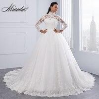 Vestido De Noiva High Neck IIIusion Back Long Sleeve Wedding Dress 2016 Lace Ball Gown Wedding