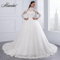 Miaoduo Vestido De Noiva High Neck IIIusion Back Long Sleeve Wedding Dress 2018 Lace Ball Gown Wedding Gowns robe de mariage New