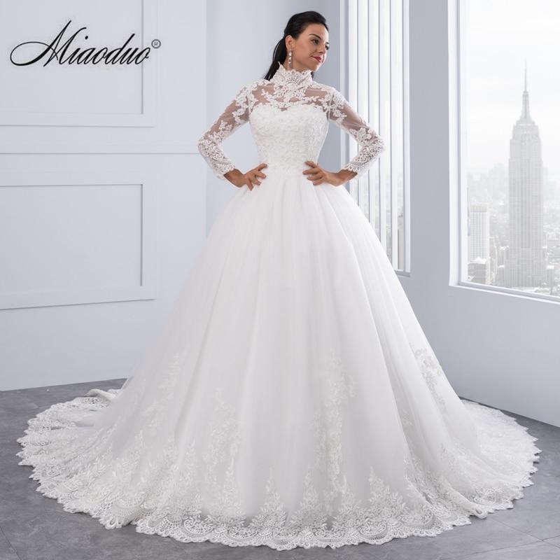 Miaoduo Vestido De Noiva High Neck IIIusion Back Long Sleeve Wedding Dress 2019 Lace Ball Gown