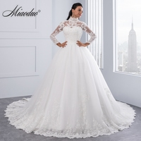 Miaoduo Vestido De Noiva High Neck IIIusion Back Long Sleeve Wedding Dress 2018 Lace Ball Gown Wedding Gowns robe de mariage New