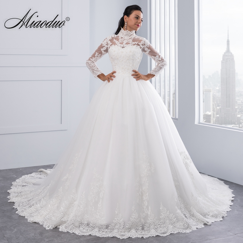 Miaoduo Vestido De Noiva High Neck IIIusion Back Long Sleeve Wedding Dress 2017 Lace Ball Gown Wedding Gowns robe de mariage