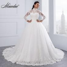 فستان زفاف من Miaoduo Vestido De Noiva مقاس كبير برقبة عالية وأكمام طويلة من الخلف موضة 2020 فساتين زفاف للنساء