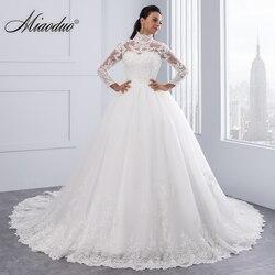Miaoduo vestido de noiva alta pescoço iiiiusion voltar manga longa vestido de casamento 2019 laço vestido de baile vestidos de casamento robe de mariage novo