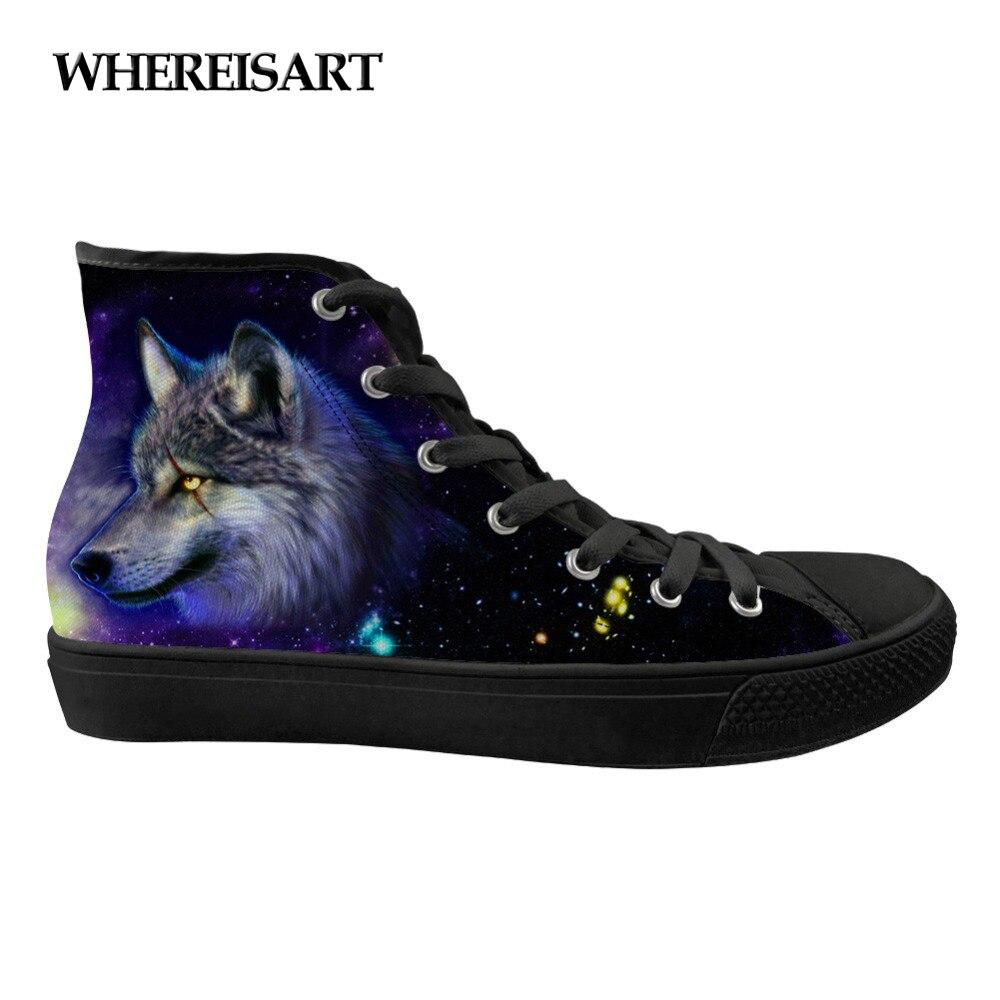 Motif de loup 3D Animal frais toile surfaces plates chaussures de dames galaxie décontracté femmes chaussures de sport haut de gamme femme vulcanisée
