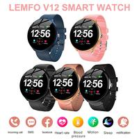 For LEMFO V12 Waterproof Smart Watch Full Touch Blood Pressure Oxygen Heart Rate Monitor Fitness Smartwatch For Android IOS