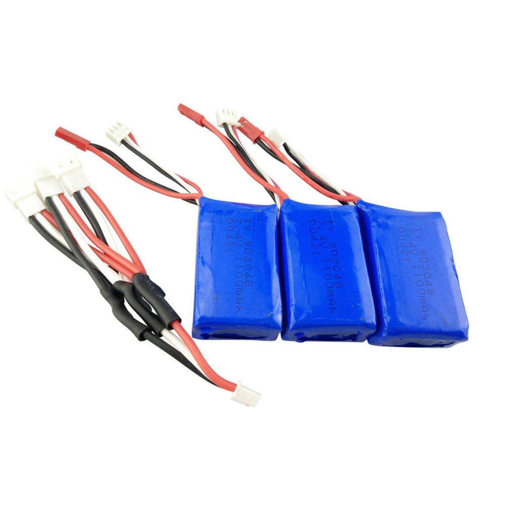 3PCS 7.4V 1100mah lithium battery for WLtoys A949 A959 A969 A979 S989 V912 T23 T55 F45 RC remote control drone