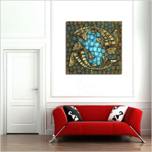 100% hand painted simple style animal oil painting on canvas modern abstract two fish retro for home decor