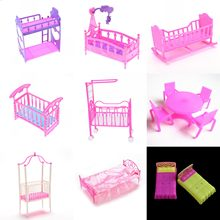 For Girl Dolls Dollhouse Girl Birthday Double Bed Cradle Pillow Dolls Accessories Fashion Plastic doll Bed Bedroom Furniture(China)