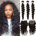 Brazilian Virgin Hair With Closure Loose Wave With Closure 4 Pcs/lot Human Hair 3 Bundles With Closure Rosa Queen Hair Products