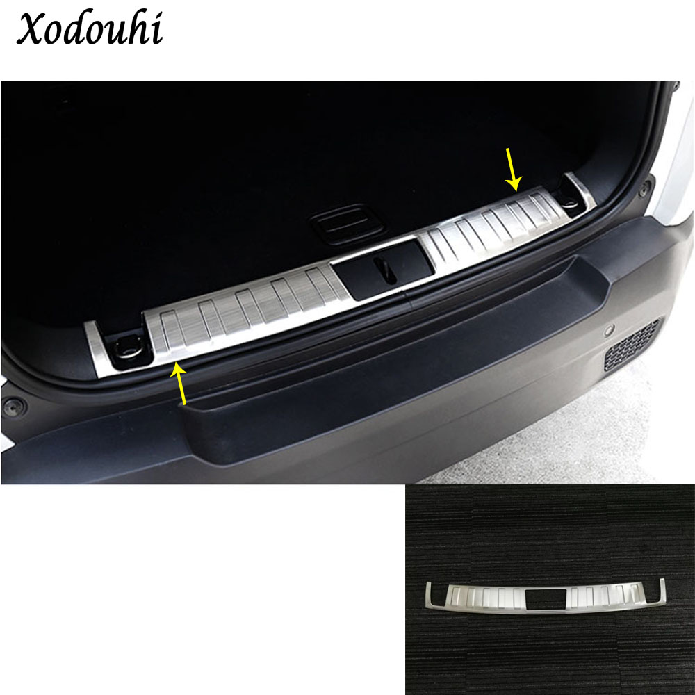 For Jeep Renegade 2016 2017 2018 car body Stainless Steel Inner Rear trunk Bumper trim plate frame threshold pedal hoods 1pcs car cover stainless steel outside rear bumper strip trim plate lamp frame threshold pedal 1pcs for toyota corolla 2008 2010
