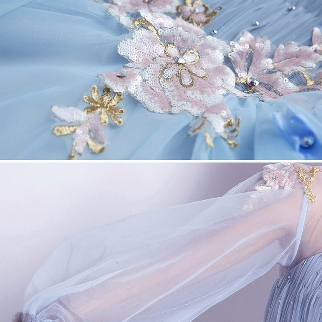 Online Shop Light Blue Elegant Ball Gown Wedding Dresses Long Sleeve ...