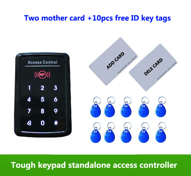 Standalone Access Control ,125KHz ID/EM RFID Touch Screen Keypad ,1000 Users ,2pcs mother card,10pcs free em key tags,min:1pcs proximity rfid 125khz em id card access control keypad standalone access controler 2pcs mother card 10pcs id tags min 5pcs