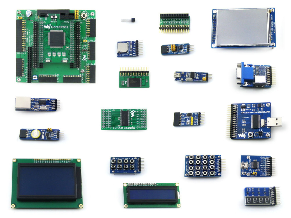 Waveshare EP3C5 EP3C5E144C8N ALTERA Cyclone III FPGA Development Board + 19 Accessory Modules Kits = OpenEP3C5-C Package B openep3c5 c standard ep3c5 ep3c5e144c8n altera cyclone iii fpga development board