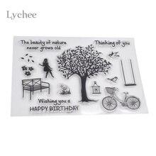 Lychee Clear Transparent Stamp Seal Rubber Stamp DIY Scrapbooking Photo Album Diary Decoration Supplies Tree Flower Bird Bike